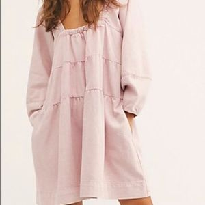 NWT Free People Lou Jean Babydoll Dress in Denim